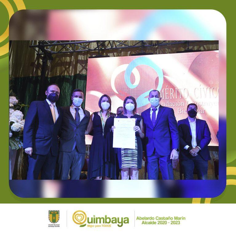Medalla al Merito Cívico Fundación Construyendo Bienestar Municipio de Quimbaya